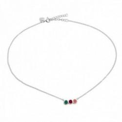 Gargantilla plata Ley 925m Agatha Ruiz de la Prada 37cm. colección Mini Cósima tira círculos colores