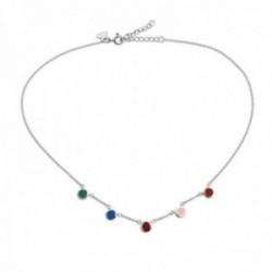 Gargantilla plata Ley 925m Agatha Ruiz de la Prada 36cm. colección Mini Cósima círculos colores