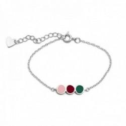 Pulsera plata Ley 925m Agatha Ruiz de la Prada 13.5cm. colección Mini Cósima tira colores esmaltados