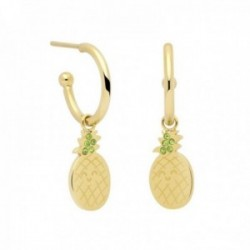 Pendientes Mr. Wonderful WJ10101 TROPICAL PARTY 26mm. acero inoxidable dorado motivo piña