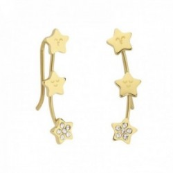 Pendientes Mr. Wonderful WJ10103 SPARKLING trepador 22mm acero inoxidable dorado estrellas circonita