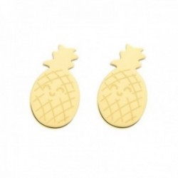 Pendientes Mr. Wonderful WJ10107 TROPICAL PARTY 11mm. acero inoxidable dorado motivo piña
