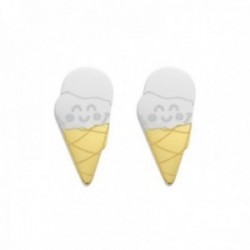 Pendientes Mr. Wonderful WJ10302 SMILE ALWAYS 10mm. acero inoxidable motivo helados