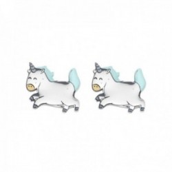 Pendientes Mr. Wonderful WJ10304 MAGIC 11mm. acero inoxidable motivo unicornio