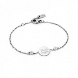 Pulsera Mr. Wonderful WJ30006 WONDERFUL WORDS 18cm. acero inoxidable SONRÍE SIEMPRE estrellas