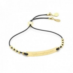 Pulsera Mr. Wonderful WJ30106 WONDERFUL WORDS ajustable acero inoxidable dorado motivos piñas