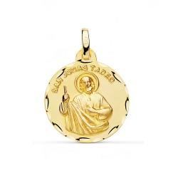 Medalla oro 18k San Judas Tadeo 18mm. inscripción unisex