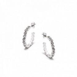 Pendientes Pertegaz colección Kylie aros 25mm. plateados piedras circonitas blancas cierre presión
