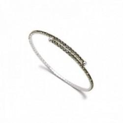 Pulsera brazalete Pertegaz colección Kylie plateada adaptable abierta piedras circonitas