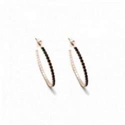 Pendientes Pertegaz colección Kylie aros 34mm. tono rosado piedras circonitas negras cierre presión