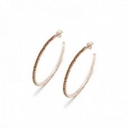 Pendientes Pertegaz colección Kylie aros 45mm. tono rosado piedras circonitas doradas cierre presión
