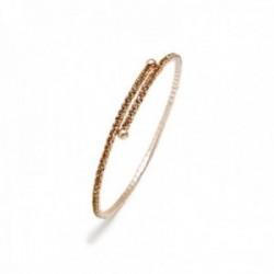 Pulsera brazalete Pertegaz colección Kylie tono rosado adaptable abierta piedras circonitas doradas