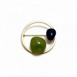 Broche alfiler Pertegaz colección Helena piedras azul marino verde pistacho redondo dorado