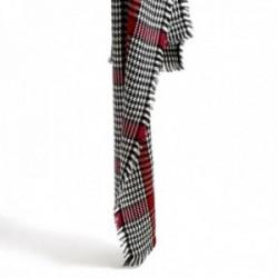 Pañuelo foulard Karambake modelo PATA DE GALLO 70x180cm. bufanda flecos detalle flor metálica