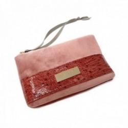 Monedero Pertegaz Velvet rosa terciopelo franja piel chapa dorada cierre cremallera tira tela