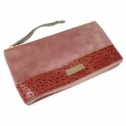 Bolso de mano Pertegaz clutch Velvet rosa terciopelo franja piel chapa dorada cremallera tira tela