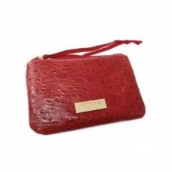 Monedero Pertegaz rojo piel chapa dorada cierre cremallera tira tela
