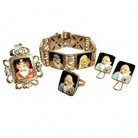 Juego oro 18k caras orientales dioses chinos amor cerámica [265J]