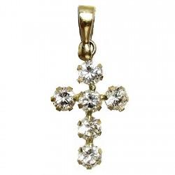 Colgante cruz oro 18k 15mm. circonitas garras mujer