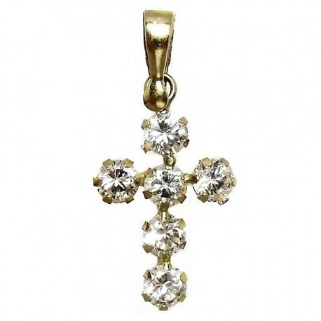 Colgante cruz oro 18k circonitas [5353]