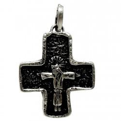 Cruz crucifijo plata Ley oxidada cristo [1267]