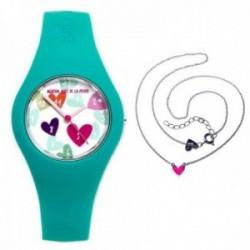 Juego Agatha Ruiz de la Prada reloj AGR224 silicona gargantilla plata Ley 925m corazón rosa
