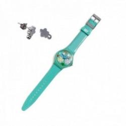 Juego Agatha Ruiz de la Prada reloj AGR241 verde selva pendientes plata Ley 925m flor circonitas