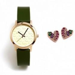 Juego Agatha Ruiz de la Prada reloj AGR285 verde pendientes plata Ley 925m corazón rosado circonitas