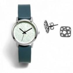Juego Agatha Ruiz de la Prada reloj AGR284 pendientes plata Ley 925m flores caladas cuadrado