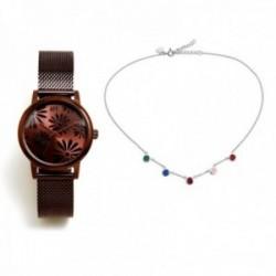 Juego Agatha Ruiz de la Prada reloj AGR262 chocolate gargantilla plata Ley 925m círculos colores