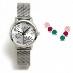 Juego Agatha Ruiz de la Prada reloj AGR261 plateado pendientes plata Ley 925m tira círculos colores