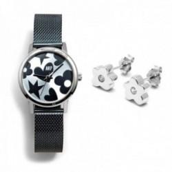 Juego Agatha Ruiz de la Prada reloj AGR250 azul acero pendientes plata Ley 925m flor lisa circonita