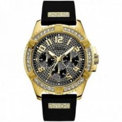 Reloj Guess hombre Frontier W1132G1 negro dorado detalle bisel correa piedras blancas