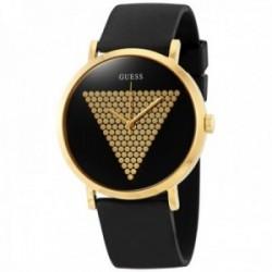 Reloj Guess hombre Imprint W1161G1 negro silicona detalle triángulo logo esfera