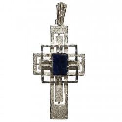 Cruz crucifijo plata Ley piedra azul [1322]