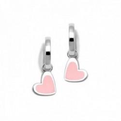 Pendientes plata Ley 925m Agatha Ruiz de la Prada colección Criollas de Agatha aros corazón rosa