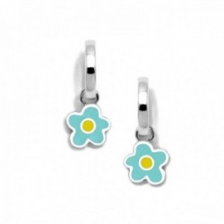 Pendientes plata Ley 925m Agatha Ruiz de la Prada colección Criollas de Agatha aros flor azul