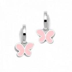 Pendientes plata Ley 925m Agatha Ruiz de la Prada colección Criollas de Agatha aros mariposa rosa