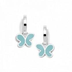 Pendientes plata Ley 925m Agatha Ruiz de la Prada colección Criollas de Agatha aros mariposa agua