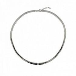 Gargantilla Lineargent plata Ley 925m semirígida 45.5cm. eslabones lisos circonita cierre mosquetón