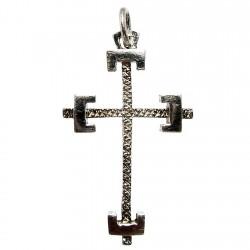 Cruz crucifijo plata Ley 925m labrado [1324]