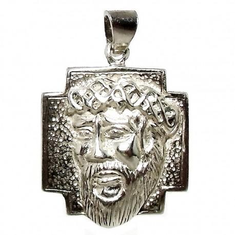 Cabeza rostro Cristo plata Ley [1328]