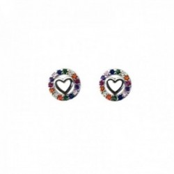Pendientes plata Ley 925m corazón cerco 8mm. piedras colores microengastadas cierre presión