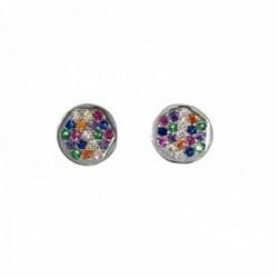Pendientes plata Ley 925m redondo 6mm. piedras colores microengastadas cierre presión