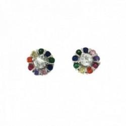 Pendientes plata Ley 925m redondo 7mm. centro blanco piedras colores microengastadas cierre presión