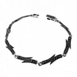 Pulsera plata Ley 925m mujer 18cm. piedras marquesitas eslabones redondos cierre pato