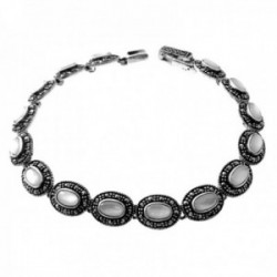 Pulsera plata Ley 925m mujer 19cm. eslabones nácar blanco piedras marquesitas cierre pato