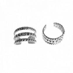 Pendientes trepador plata Ley 925m falso piercing multiaro tres bandas reliadas