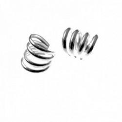 Pendientes trepador plata Ley 925m falso piercing multiaro cinco bandas lisas
