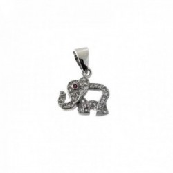 Colgante plata Ley 925m elefante 15mm. calado borde circonitas ojo piedra rosa